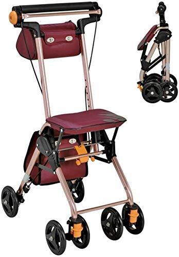 Tragbarer Wanderer, mit Sitzlaufhilfe Mobilitätswagen mit Tasche Einkaufen Kinderwagen Rollenlicht Falten 4 Räder Doppelbremssystem zum Einkaufen und Reisen 1207 (Size : Small)