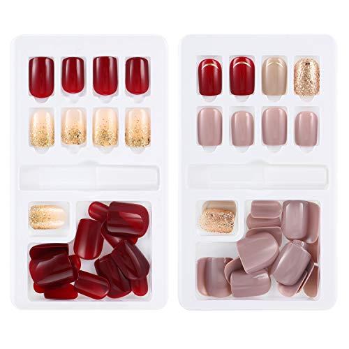 GejoyJuego de 60 uñas postizas para uñas postizas artificiales, 12 tamaños en 2 cajas, cubierta completa con...