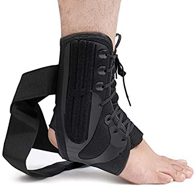 Lace Up Ankle Brace - (Medium) Tie Up Ankle Brace with Compression Straps - Bisexual Ankle Stabilizer for Joint Pain, Volleyball Soccer Injuries, Swelling, Sprains - Wear Over Socks or Sleeves