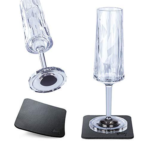 Silwy, bicchieri magnetici in plastica ad alta tecnologia e nano-gel metallici, bicchieri da campeggio, accessori per barche e yacht (spumante // 0,15 l)