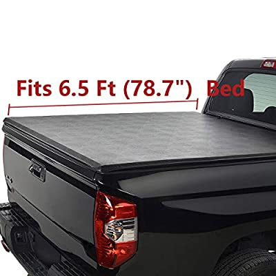 Deebior 6.5ft Clamp On Soft Lock & Roll-up Top Mount Tonneau Cover |1228| Black Vinyl Bed Cover Compatible With Silverado/Sierra 07-13 1500 07-14 2500/3500 HD New Body Pickup Fleetside Bed