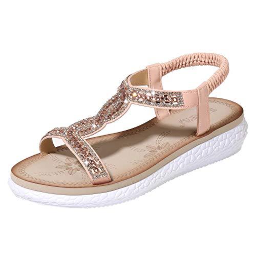 LuckyGirls Chic Sandalias Mujer Verano 2020 Fiesta Planas Sandalias de Mujer Vestir Playa Bohemia Bonitas Chanclas T-Strap con Diamond Zapatos Mujer Elegantes Casual Comodas