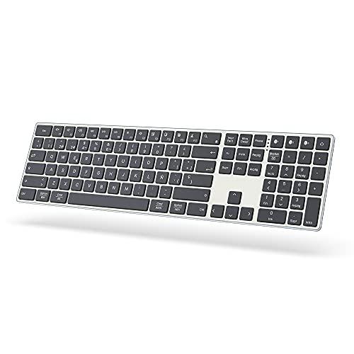 JOYACCESS Teclado Inalámbrico Bluetooth, Recargable Teclado Ultrafino QWERTY Tamaño Completo, Alternable con 3 Dispositivos para PC, Portátiles, MacBook, Compatible con Windows/Mac OS/Android, Gris
