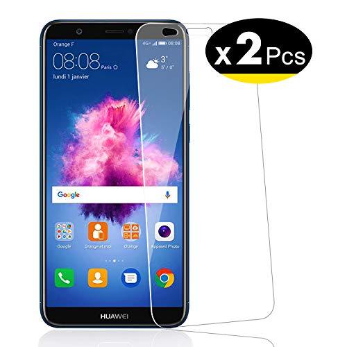 NEW'C PanzerglasFolie Schutzfolie für Huawei P smart, [2 Stück] Frei von Kratzern Fingabdrücken und Öl, 9H Härte, HD Displayschutzfolie, 0.33mm Ultra-klar, DisplayschutzfolieHuawei P smart