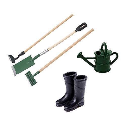witgift Juego de casa de muñecas en miniatura, herramientas de jardín, botas de goma y regadera, decoración de jardín