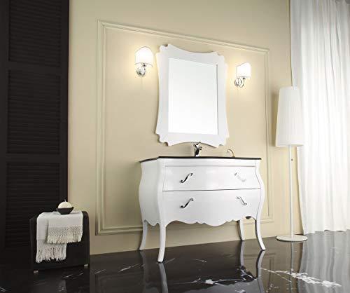 Mobile da bagno classico con lavabo integrato con cassetti e specchio - Misura: L.106 P.56 - Finitura: laccato bianco lucido - Top: cristallo integrato float nero - 100% made in Italy