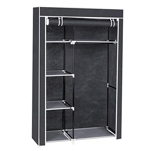 BuPin 64 Canvas Wardrobe, Clothes Storage Portable Closet, Hanging Rail Clothes Cupboard,Organizer Wardrobe Clothes Rack with Shelves,Gray