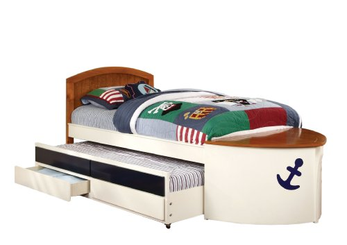 Furniture of America Youth Boat Design Bed with Trundle and Storage Drawer, Twin, White and Oak