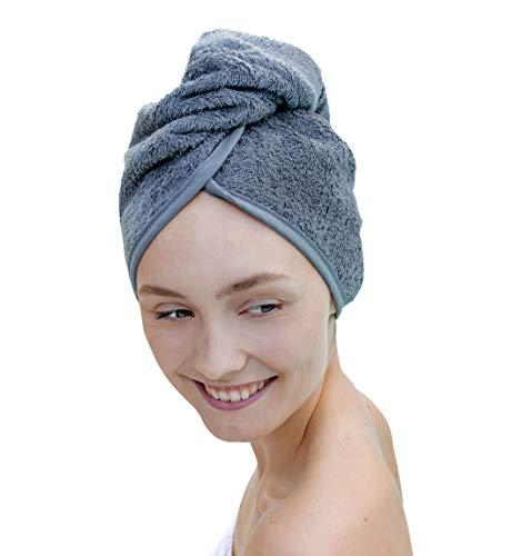 Carenesse Haarturban anthrazit grau, 100% saugstarke Baumwolle, Aufsetzen – Einwickeln - Festknöpfen - Stabiler Halt Haar-Turban Haar Turban Kopfhandtuch Haartrockentuch Handtuch für Haare