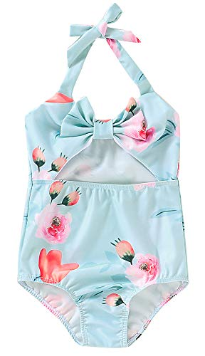 Toddler Girl Baby Floral Swimsuit Cute Bow One Piece Swimwear Bathing Suit Blue