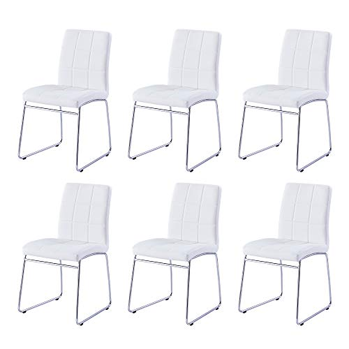 Modern Dining Chairs Set of 6, Dining Room Chairs with Faux Leather Padded Seat Back in Checkered Pattern and Sled Chrome Legs, Kitchen Chairs for Dining Room,Kitchen, Living Room, White Chairs