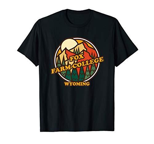 Vintage Fox Farm-College, Wyoming Mountain Souvenir Print T-Shirt