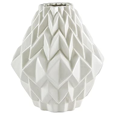Rivet Modern Geometric Pattern Stoneware Vase, 6.9 H, White