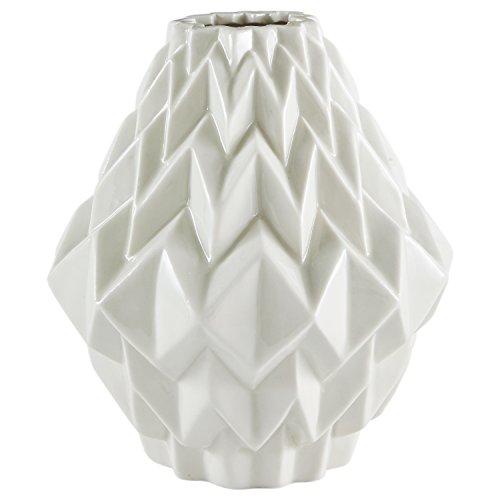 Rivet Jarrón de gres para flores, diseño geométrico moderno, 17,5 cm, blanco