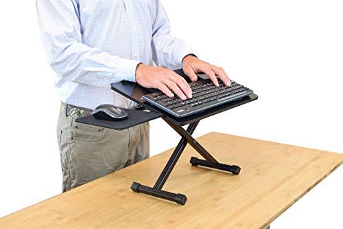 KT3 Ergonomic Adjustable Height & Negative Tilt Computer Keyboard and Mouse Stand for Standing. sit Stand up Riser on Desk Platform Lift Raise Keyboards to Standing Above Desk