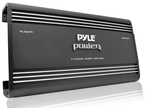 4 Channel Car Stereo Amplifier - 4000W High Power 4-Channel Bridgeable Audio Sound Auto Small Speaker Amp Box w/ MOSFET, Crossover, Bass Boost Control, Silver Plated RCA Input Output - Pyle PLA4478