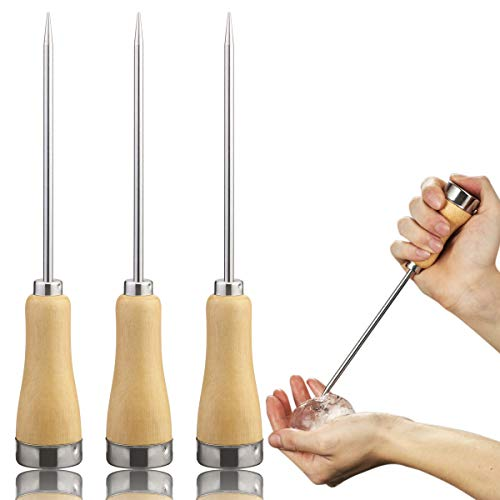 Fireboomoon 3 Pack Stainless Steel Ice Pick with Safety Wooden Handle for Home Kitchen Restaurant Bar(8.5 Inches)