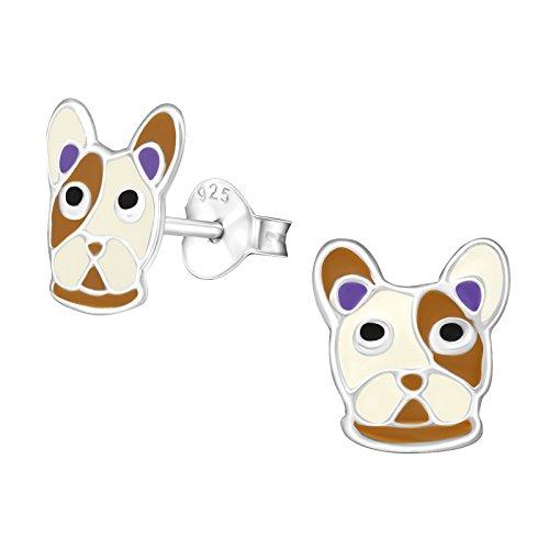 Monkimau Pendientes para niña de plata de ley 925 con diseño de perro bulldog