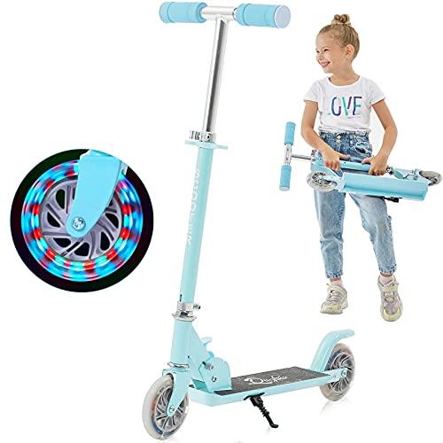 Yuanj Patinete Niño con Luces, Patinete 2 / 3 Ruedas para Niñas y Niños, Scooter para Niños de 3 a 12 Años, Altura Ajustable LED Scooter (Azul, 3-12 Years Old)