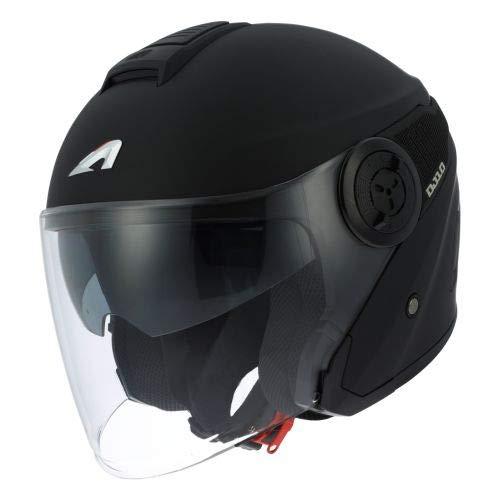 Astone Helmets - Casque jet DJ10-2 monocolor - Casque jet à écran long - Casque jet moderne en polycarbonate - Matt black M