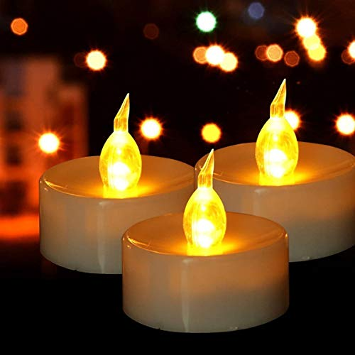 Battery Tea Lights - 24 Pack LED Tea Lights Candles Realistic and Bright Flickering Holiday Gift Operated Flameless LED Tea Light for Seasonal & Festival Celebration Warm Yellow Lamp Battery Powered