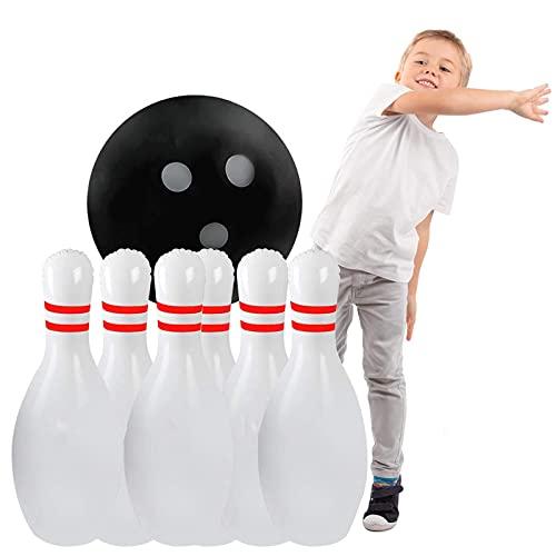 Kinder Bowling Ball Set, Aufblasbares Riesen-Bowling-Set Kinder,Gartenparty mit 1 Ball, 6 Pin Aufblaserbare Bowling Spielzeug, pädagogische interaktive Spiel