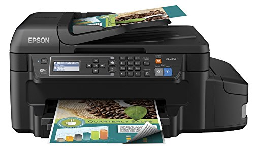 Epson WorkForce ET-4550 EcoTank Wireless Color All-in-One Supertank Printer with Scanner, Copier, Fax, Ethernet, Wi-Fi, Wi-Fi Direct, Tablet and Smartphone (iPad, iPhone, Android) Printing, Easily Refillable Ink Tanks