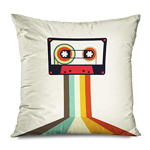 Onete Throw Pillow Cover Square 20x20 Inches Club Sound Cassette Retro Vintage Style Party Element Textures Fun Sign Stereo Object Audio Disco Decorative Pillowcase Home Decor Cushion Pillow Case Audio Cassette Label Template