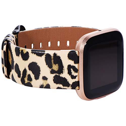 KADES for Fitbit Versa 2 Bands, Leather Band Replacement Strap Compatible with Fitbit Versa 2/Versa/Versa Lite/Versa SE Smartwatch for Women Men (Leopard Print B)