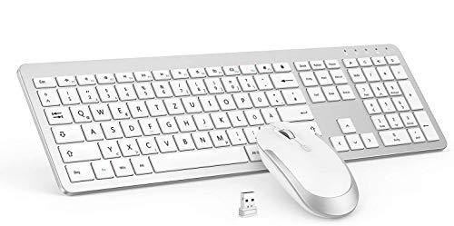 seenda Wireless Tastatur Maus Sets - 2,4Ghz Ultra Dünne Drahtlose Tastatur und Maus (QWERTZ, Deutsches Layout) für Laptop PC - Weiß & Silber