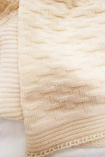 Wallaboo Eden, Manta de punto, 100% manta extrafina de lana merino, 90 x 70 cm, Color Naturaleza