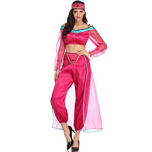 Story of life Halloween Party Kostüme Europa Und Amerika Spaß Uniformen Film Spiele Anime Cosplay Märchen Aladdin Magische Lampe Jasmin Prinzessin Bauchtanz Kleidung,Rosered,XL