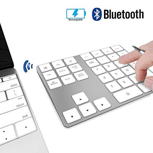 Pavé Numérique sans Fil Bluetooth Rechargeable Aluminium 34 Touches Extension pour Entrée de Données sur Excel et Numbers sur iMac, MacBook Pro, Ordinateurs Portables - Blanc