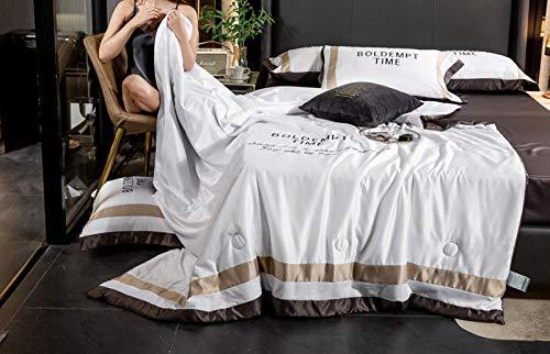 Gasgff Sommer Kühle Decke, Einfache Stickerei Sommer Quilt Letters Bestickte Seide Mute Klimaanlage Dünne Quilt kann gewaschen Werden-Weiß_150 * 200 cm