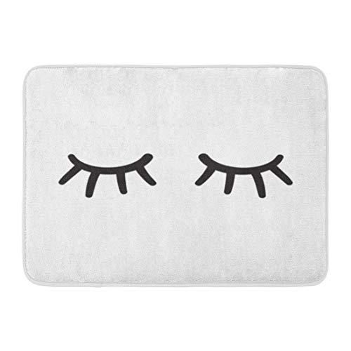 Emvency Doormats Bath Rugs Outdoor/Indoor Door Mat Lash Eyes Closed Lases Hand Drawn Cartoon Close Eyelash Wink Eyelid Bathroom Decor Rug Bath Mat 16