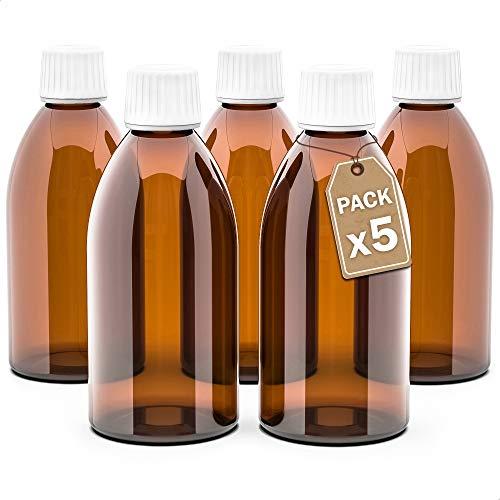 LG Luxury & Grace Pack 5 Frascos de Cristal, 250 ml. Botes de Cristal Ámbar. Cierre de Rosca y Dosificador Gotero. Botellas Rellenables. Dosificación y Almacenamiento de Sustancias Líquidas.