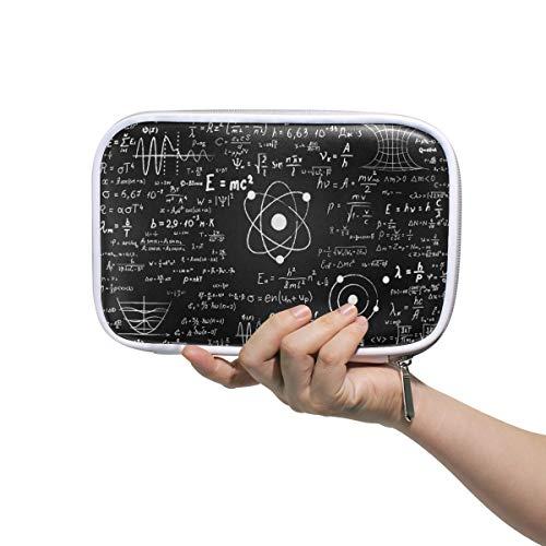Linomo - Estuche multifuncional para lápices, diseño de fórmulas de química, matemáticas, con cremallera, para pasaporte de cuero, para viajes, oficina, escuela