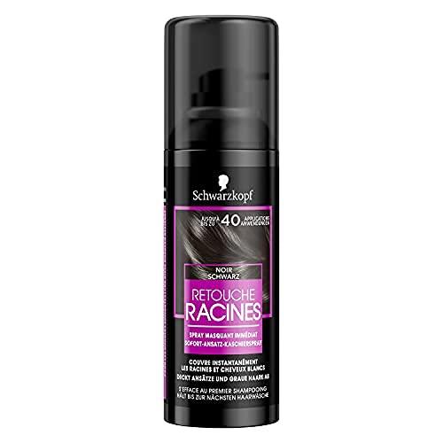 Schwarzkopf - Retouche Racines Cheveux Blancs - Spray Masquant Temporaire Racines Cheveux - S'efface au premier shampooing - Noir