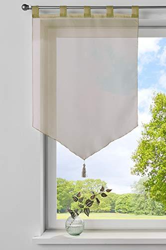 Gardinenbox Scheibengardine »Lyon« Quaste Modern Zeitlos Voile Küchenfenster Sichtschutz HxB 90x60 cm Sand Scheibenhänger Spitzpanneaux, 10000333