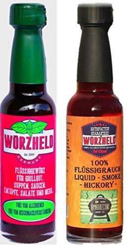Würzheld Liquid Smoke Hickory und Flüssigwürze, Set mit 100ml & 95ml