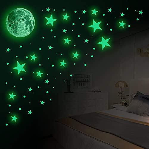 Andiker Wall Stickers, 435pcs Glow in The Dark Stars and Moon Night Glow...