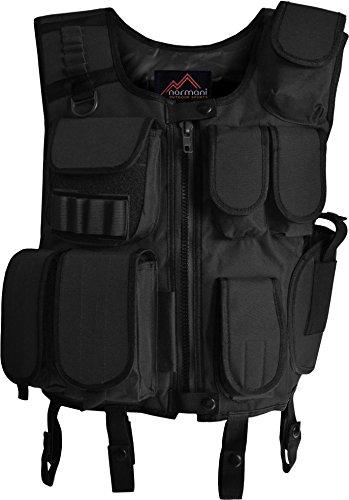 normani Swat Einsatzweste mit integriertem Pistolenholster und vielen Taschen für Magazine, Munition und Zubehör Farbe Schwarz Größe XL/XXL