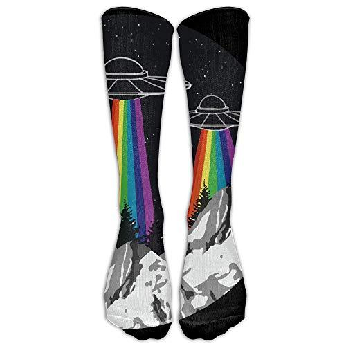 Socksforu Rainbow OVNI Orgullo Gay Mujeres y Hombres Rodilla Calcetines altos Béisbol Atlético Tubo Medias largas
