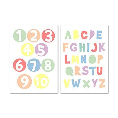xwwnzdq baby kinderkamer muurkunst canvas schilderij alfabet cijfers posters en druk decoratieve afbeelding Nordic Kids kinderkamer decoratie 40x60cmx2 niet ingelijst