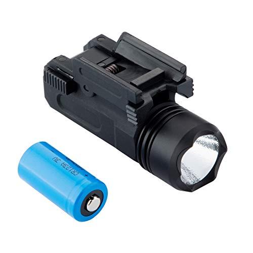 Picatinny Flashlight, 200 LumensTacticalFlashlights Weapon LightwithPicatinnyRailMount Compatible with Glock 17 19 18C Pistol,Battery Included