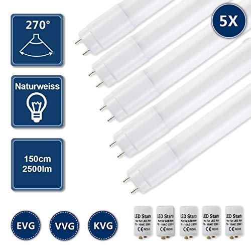 HOMEDEMO LED Lampe T8 LED Röhre Leuchtstoffröhre 150cm G13 Ersatz für Neonröhre 4000K Neutralweiß 22W 2500lm Lichtleiste Deckenleuchte Bürolampe inkl. Starter 5er Pack