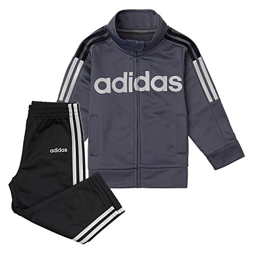 adidas Boys' Little Tricot Jacket & Pant Track Suit Clothing Set, Tapered Leg Onyx/Black, 7