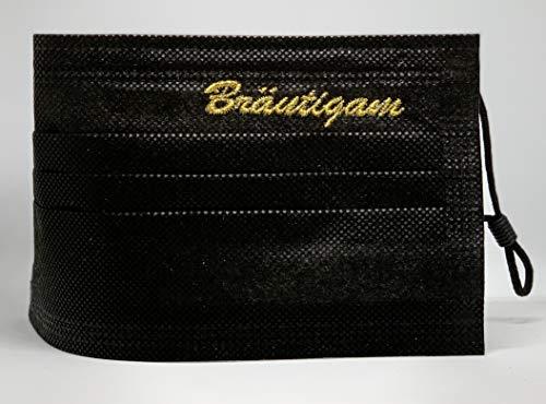 """Bräutigam Hochzeit medizinische Mund und Nasenbedeckung schwarz bestickt""""Bräutigam"""" in Gold mit verstellbaren Gummibändern"""