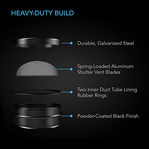 """AC Infinity 4"""" Backdraft Damper, One-Way Airflow Ducting Insert with Spring-Loaded Folding Blades for 4"""" Ducting in Range Hoods and Bathrooms Fans"""
