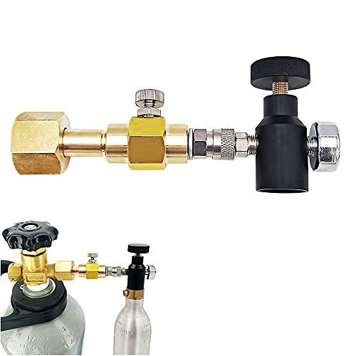YOMERA CO2-Flaschenadapter, CO2-Flaschenfülladapter, CO2 Adapter TR21-4/W21.8-14 Flaschenanschluss Doppelventil DIN477 mit Ventil ASA für Homebrewing SodaStream mit Manometer